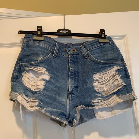 Wrangler Pants - Wrangler destroyed jean shorts